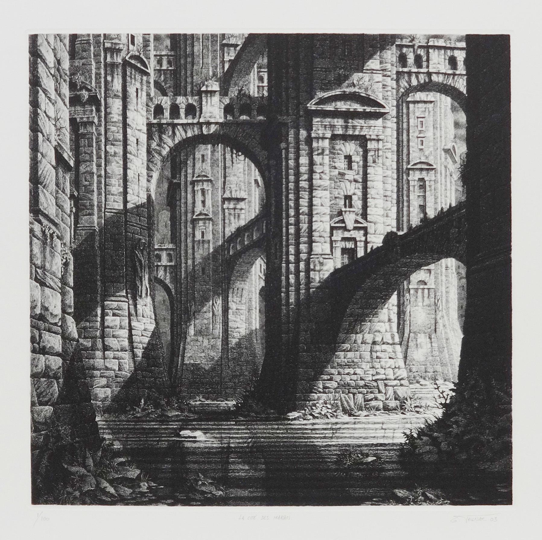 ジェラール・トリニャック 「湿地の都市国家」 2003年 銅版 ED.100