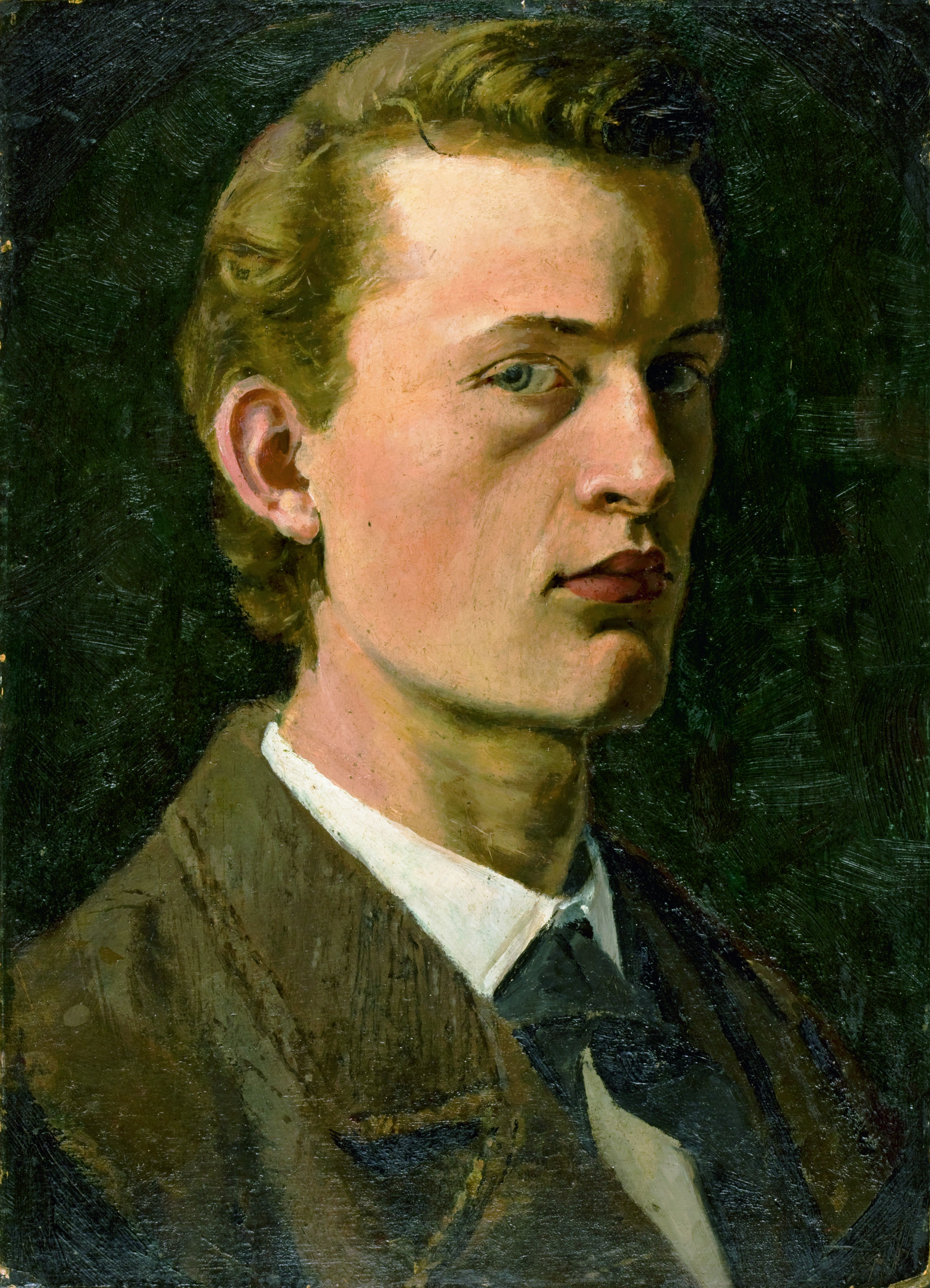 エドヴァルド・ムンク《自画像》1882年 油彩、紙(厚紙に貼付) 26×19cm