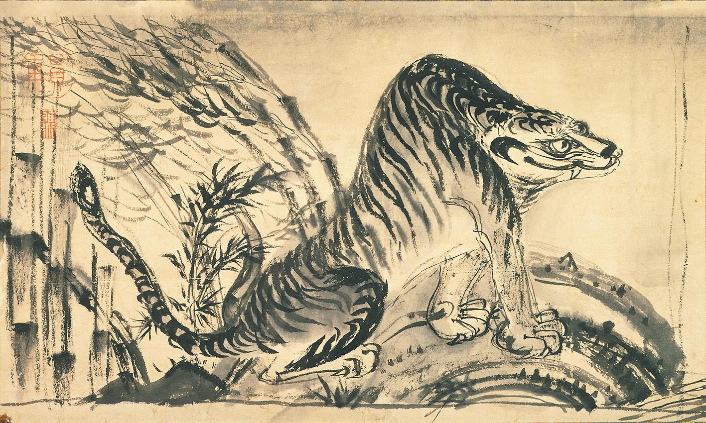狩野芳崖筆 《竹虎図》 1幅 19.5×32.6cm 奈良県立美術館蔵 【展示期間:3月28日~4月23日】