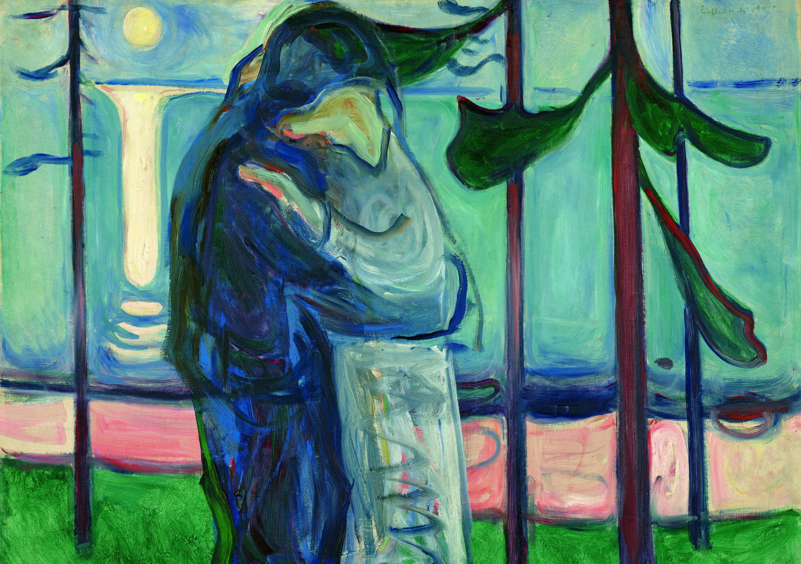 エドヴァルド・ムンク《月明かり、浜辺の接吻》1914年 油彩、カンヴァス 77×100cm