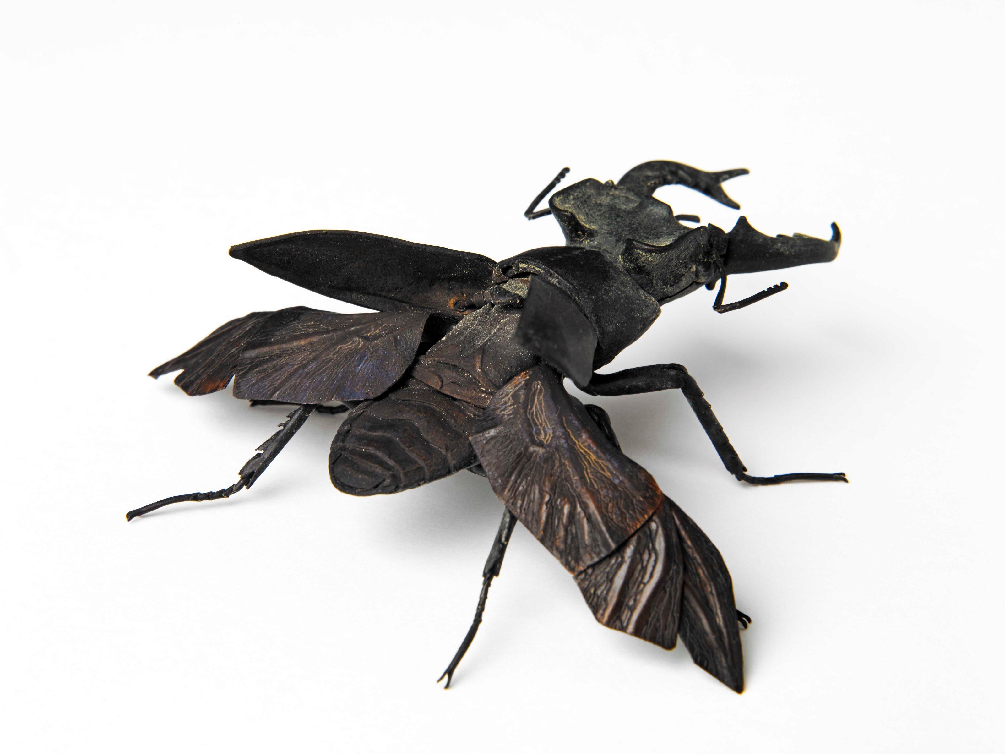 満田晴穂《自在深山鍬形》2015年 銅、真鍮、青銅 L90×W65×H30mm ※関節は動き、前翅と後翅は開くようになっています。