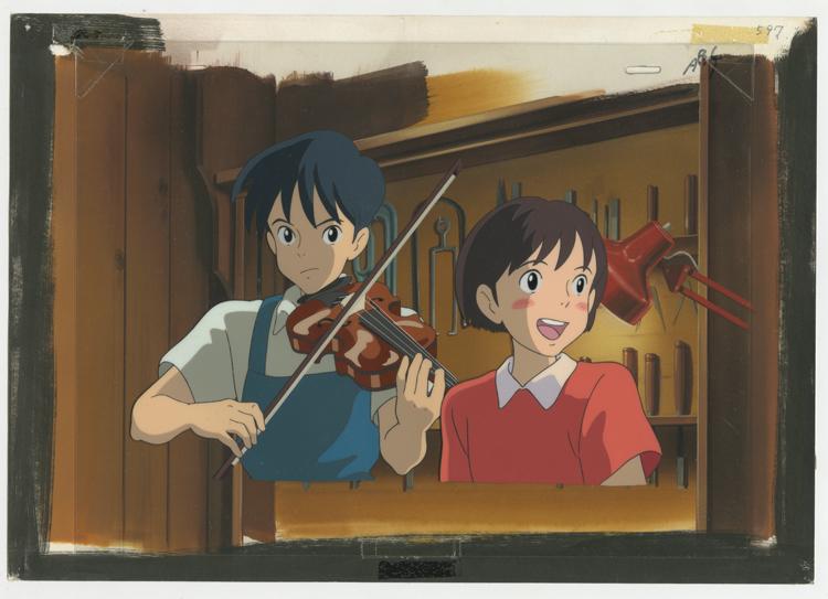 『耳をすませば』背景画およびセル画 1995年  © 1995 柊あおい/集英社・Studio Ghibli・NH