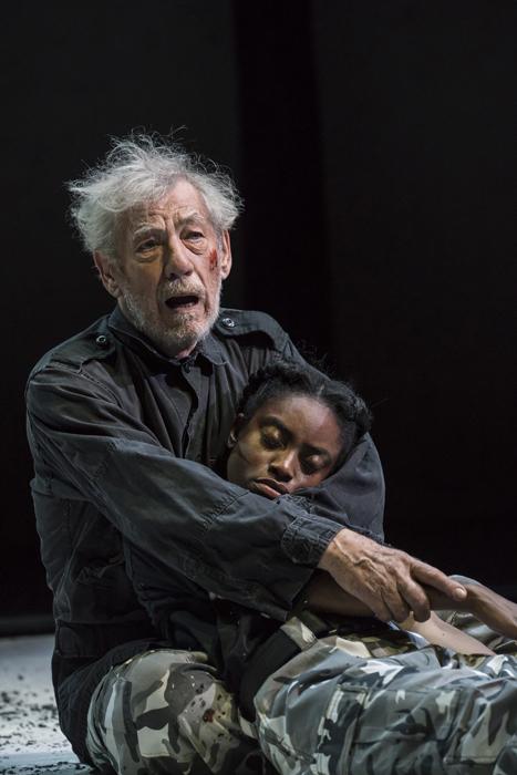 NTL 2018 King Lear - Ian McKellen (King Lear) and Anita-Joy Uwajeh (Cordelia) at Duke of Yorks Theatre. Photo by Johan Persson