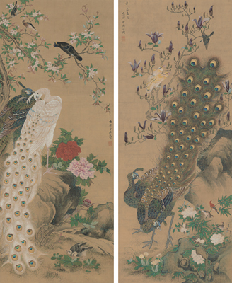 増山雪斎《孔雀図》江戸時代、享和元年(1801) Museum of Fine Arts, Boston, Fenollosa-Weld Collection