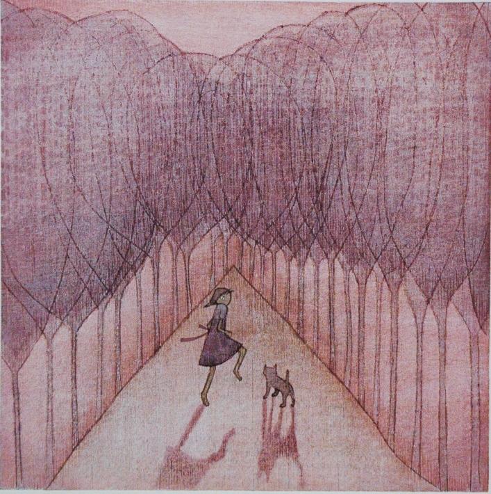 「一緒に行こう」 木版 22.5×22.5cm