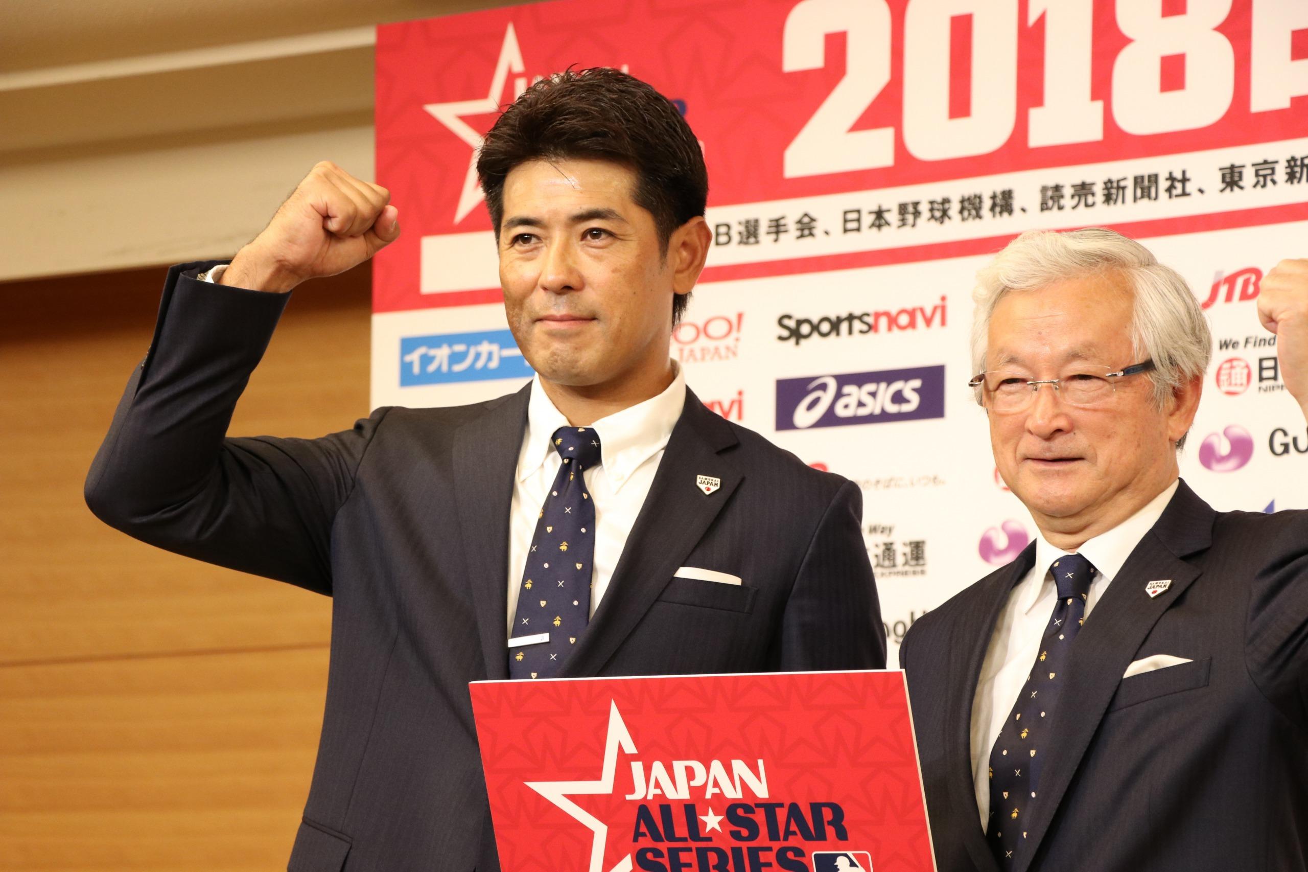 2020年の東京五輪へ向けて、「戦いはもう始まっている」と決意を表明した稲葉監督(左)