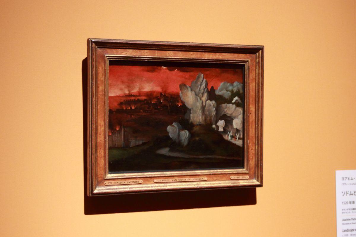 ヨアヒム・パティニール《ソドムとゴモラの滅亡がある風景》1520年頃、油彩、板
