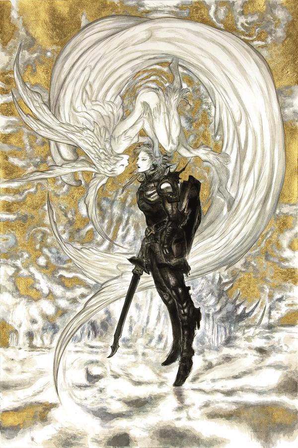 天野喜孝 《ファイナルファンタジーXIV 嵐神と冒険者》 2010年 アクリル・紙 FINAL FANTASY XIV SQUARE ENIX CO., LTD.