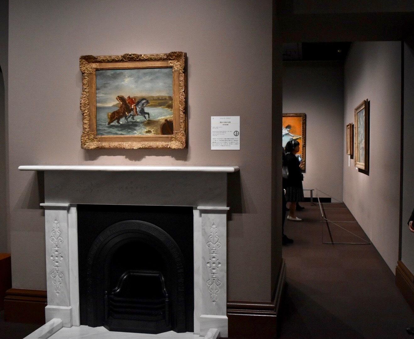 展示風景:手前:ウジェーヌ・ドラクロワ 《海からあがる馬》 1860年