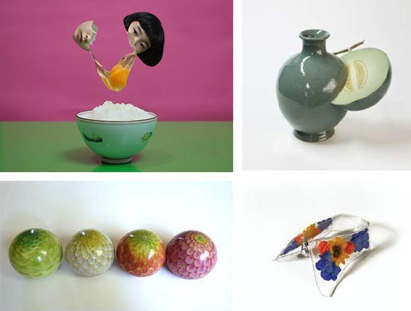 左上:宮崎いず美《Energy》Courtesy of Kyotography and Off Shot Japan ©IzumiMiyazaki 右上:桝本佳子《メロン/壷》  左下:常信明子《むすんで ひらいて》 右下:YUKI INOUE ビニールカラー