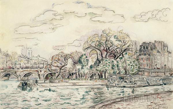 ポール・シニャック《ポン・ヌフ》1927年 水彩、紙 茨城県近代美術館