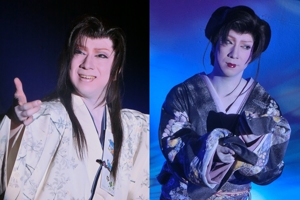 柚姫将副座長 左・立ち役(男役) 右・女形(どちらも2015/9/19) 筆者撮影