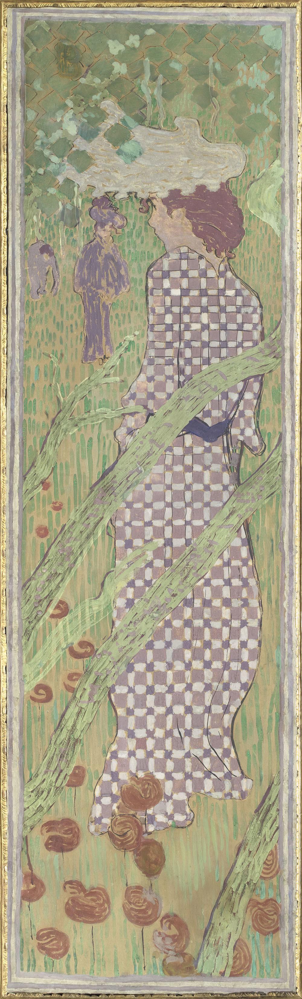 ピエール・ボナール 《庭の女性たち 格子柄の服を着た女性》 1890-91年 デトランプ/カンヴァスに貼り付けた紙、装飾パネル © RMN-Grand Palais (musée d'Orsay) / Hervé Lewandowski / distributed by AMF