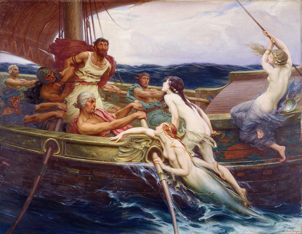ハーバート・ジェイムズ・ドレイパー 《オデュッセウスとセイレーン》 1909年 油彩・カンヴァス リーズ美術館蔵  ©Leeds Museums and Galleries (Leeds Art Gallery)
