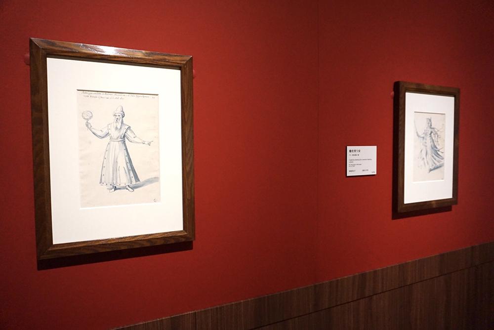 ジュゼッペ・アルチンボルド《ルドルフ2世に献じられた馬上試合の装飾デザイン集「天文学」の寓意》 1585年 ペン、青の淡彩/紙 フィレンツェ、ウフィツィ美術館 素描版画室