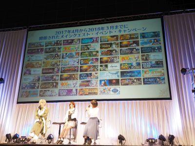 2017年4月から2018年3月までに開催したイベントやキャンペーンを振り返った。登壇者は左から島﨑信長、高橋李依、川澄綾子