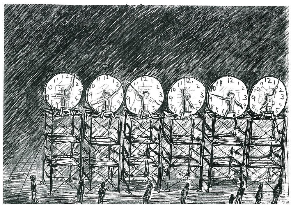 国⽴奥多摩美術館(Kokuritsu Okutama Museum) 24時間⼈間時計のためのドローイング