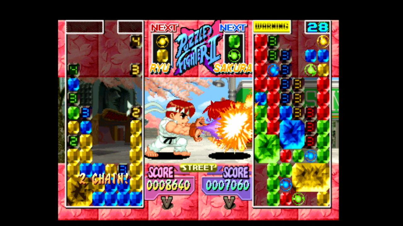 『スーパーパズルファイターIIX』ゲーム画面 (C)CAPCOM CO., LTD. 1996 ALL RIGHTS RESERVED.