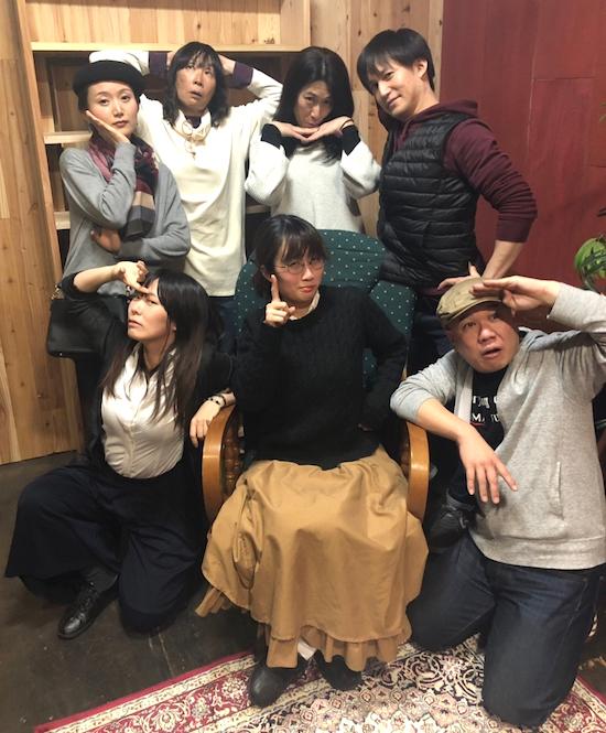 第三話『狼を待つ女』の出演者。前列左から・まとい、平手さやか、二宮信也 後列左から・上田愛、中島由紀子、長尾みゆき、青木謙樹