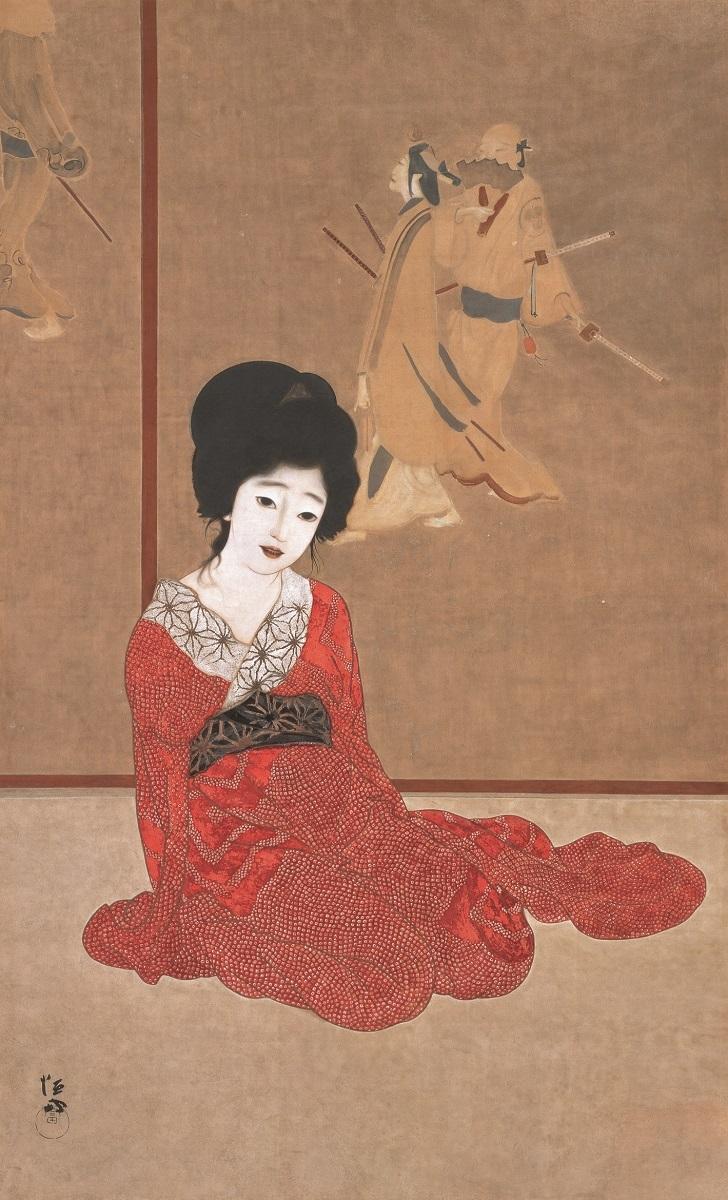 北野恒富《暖か》大正4年(1915) 滋賀県立近代美術館
