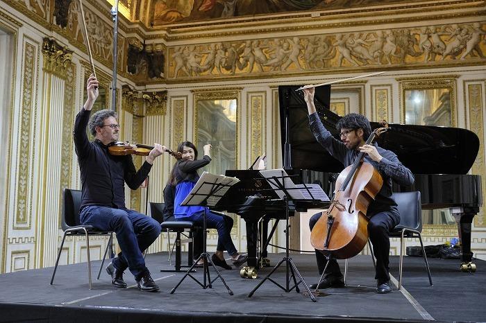 マントバフェスティバルにて/大好きなカルテットプロメテオのメンバーと組んでいるピアノトリオの演奏写真