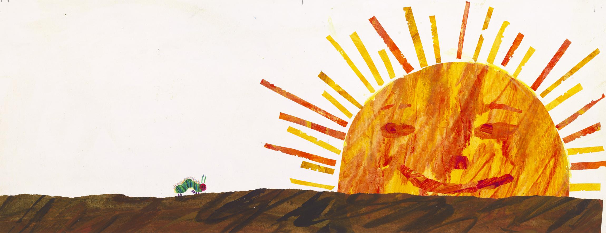 エリック・カール、『はらぺこあおむし』別図原画(未出版)、1989年、エリック・カール絵本美術館 ©1969 and 1987 Eric Carle