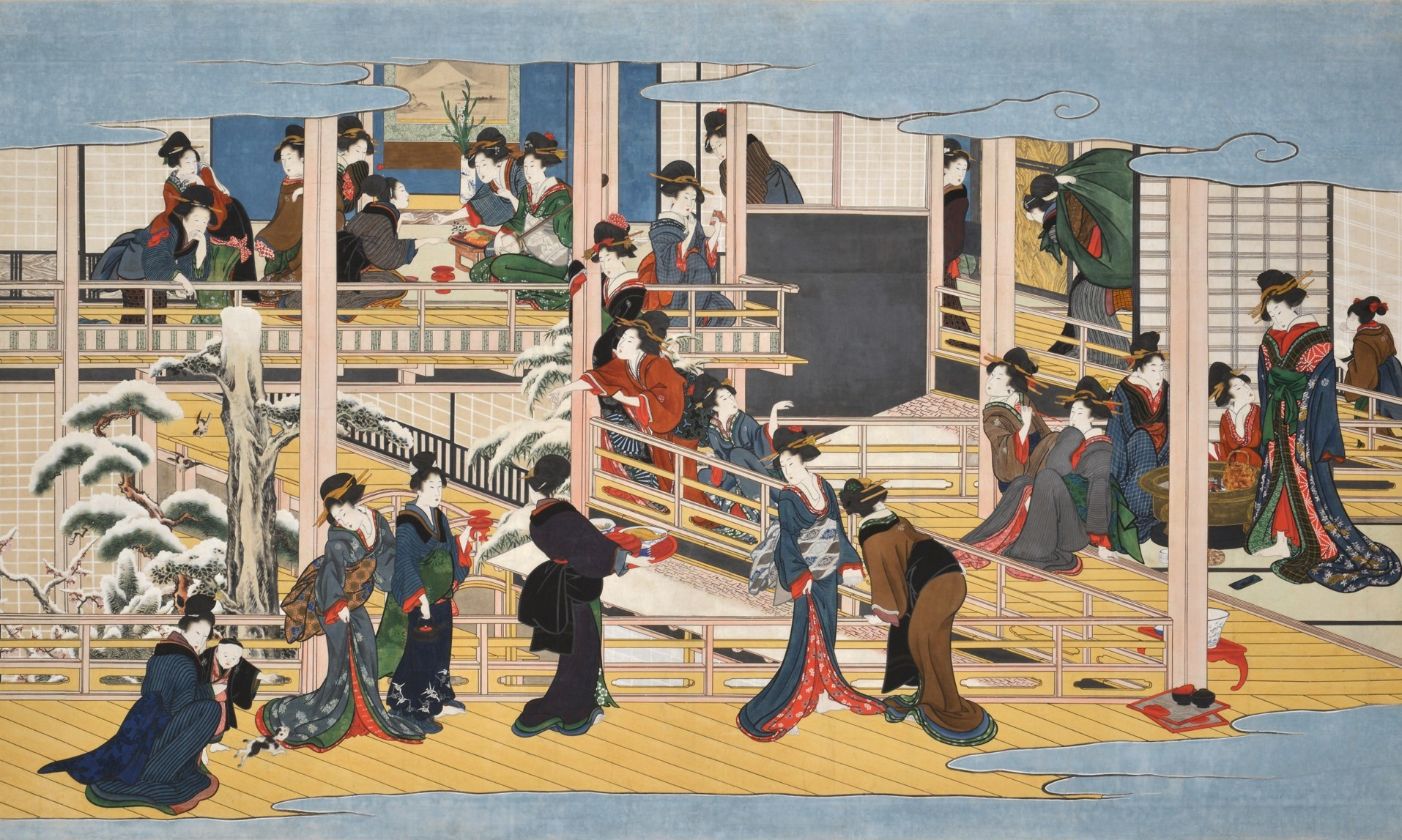 喜多川歌麿「深川の雪」(部分) 享和2~文化3年(1802~06)頃 岡田美術館蔵