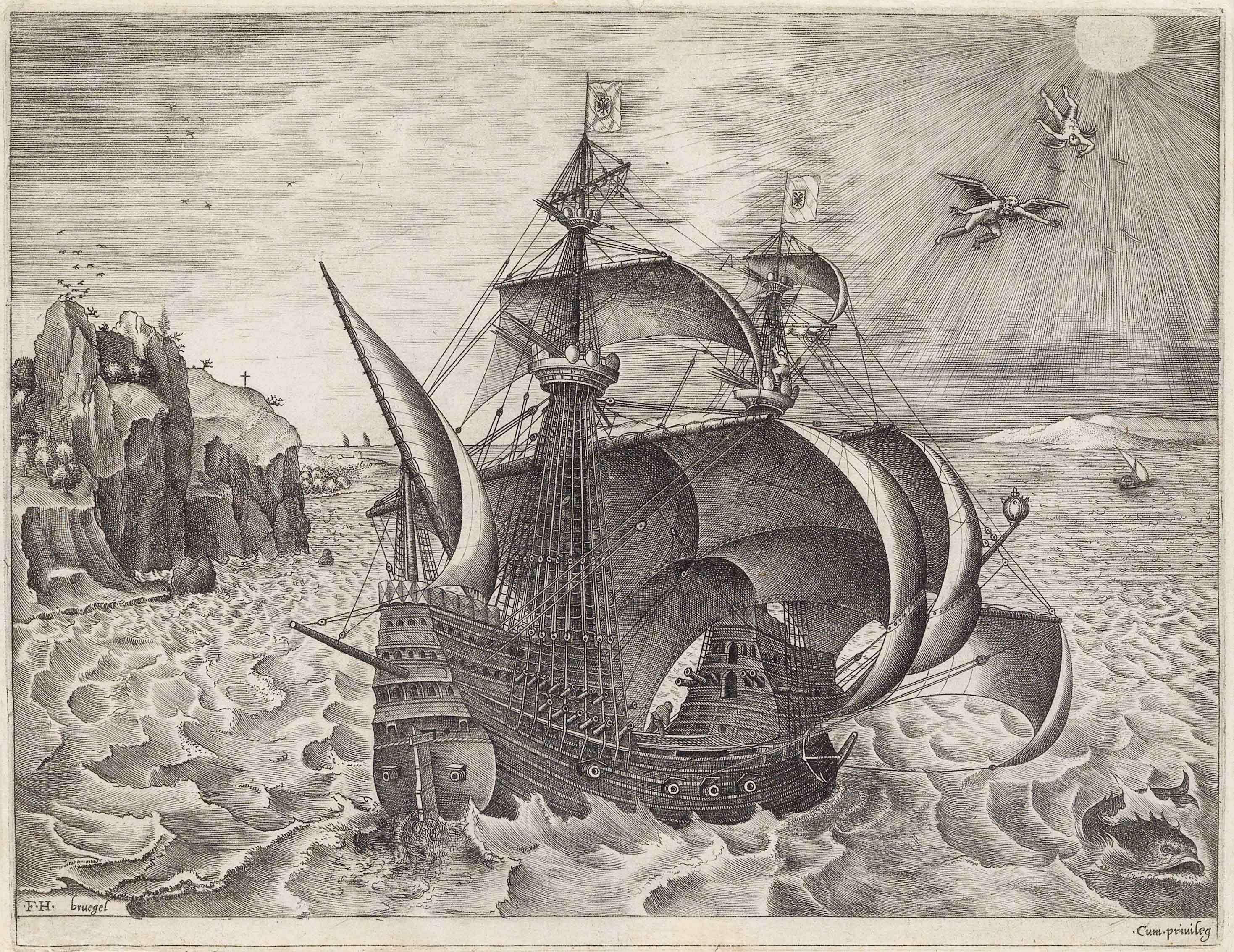 ピーテル・ブリューゲル1世(下絵)フランス・ハイス(彫版) 《イカロスの墜落の状景を伴う3本マストの武装帆船》1561-1562年頃 Private Collection