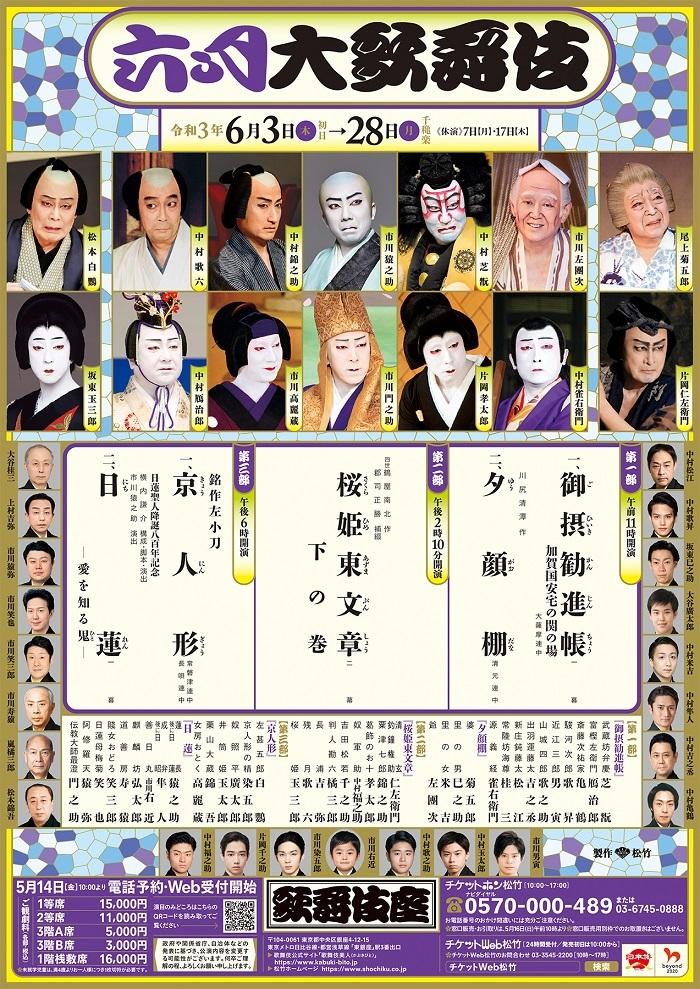 現在歌舞伎座は、もし感染者がいた場合も濃厚接触者を最小限におさえられるよう、1日三部制とし、各部ごとに出演者を入れ替えている。