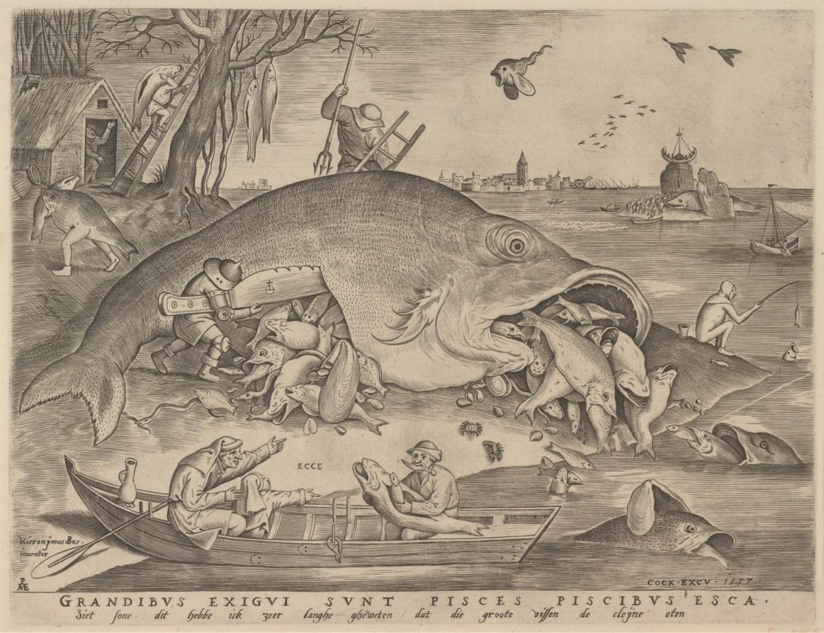 ピーテル・ブリューゲル1世(下絵)/ ピーテル・ファン・デル・ヘイデン(版刻)大きな魚は小さな魚を食う1557年エングレーヴィングMuseum BVB, Rotterdam, Netherlands