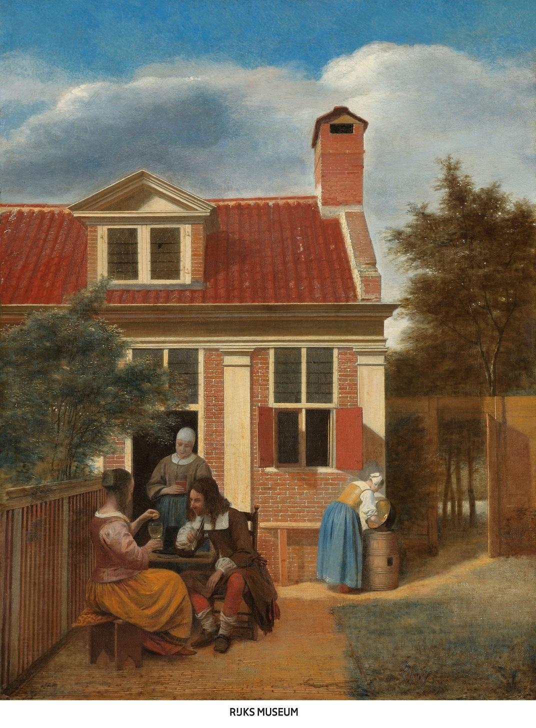ピーテル・デ・ホーホ 《人の居る裏庭》 1663-1665年頃    油彩・カンヴァス60×45.7cm    アムステルダム国立美術館 Rijksmuseum. On loan from the City of Amsterdam (A. van der Hoop Bequest)
