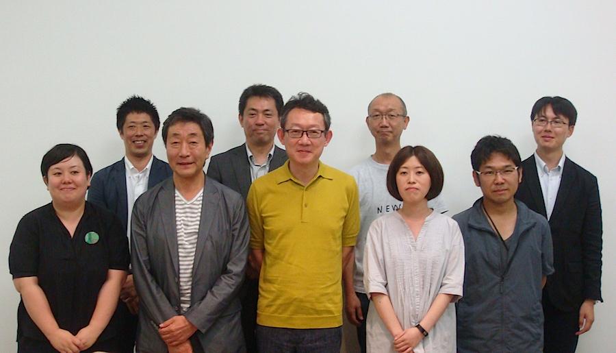 「AAF」「あいちトリエンナーレ」「Minatomachi Art Table,Nagoya」関係者の面々。前列左から2番目がAAFネットワーク実行委員会の芹沢高志事務局長、前列左から3番目があいちトリエンナーレ2016の港千尋芸術監督