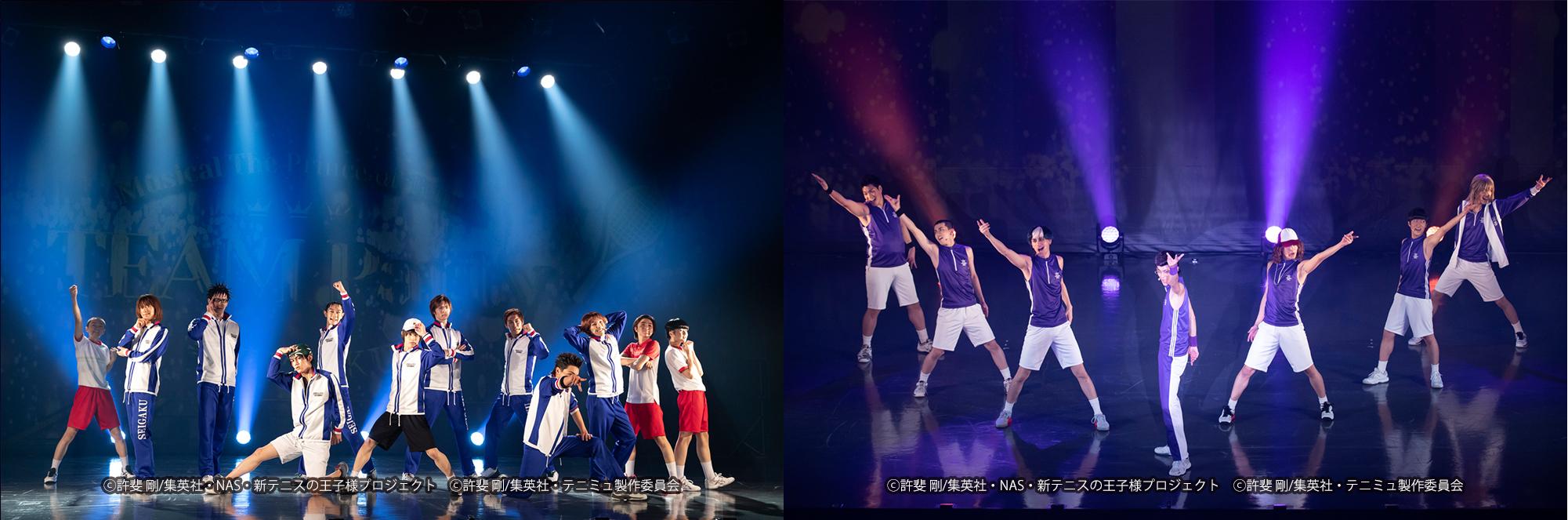 (左)TEAM Party SEIGAKU より(右) TEAM Party HIGA より (c)許斐 剛/集英社・NAS・新テニスの王子様プロジェクト  (c)許斐 剛/集英社・テニミュ製作委員会