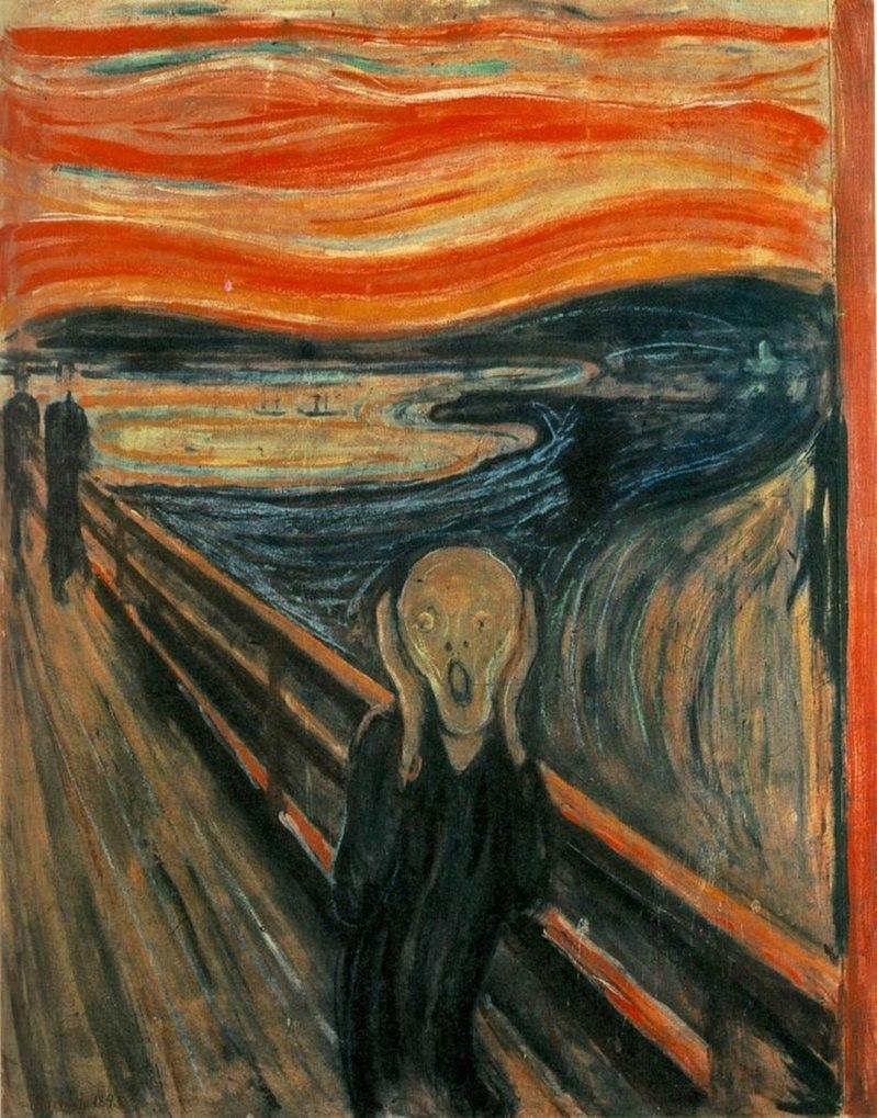 『叫び』エドヴァルド・ムンク作 1893年 オスロ国立美術館 出典=ウィキメディア・コモンズ (Wikimedia Commons)
