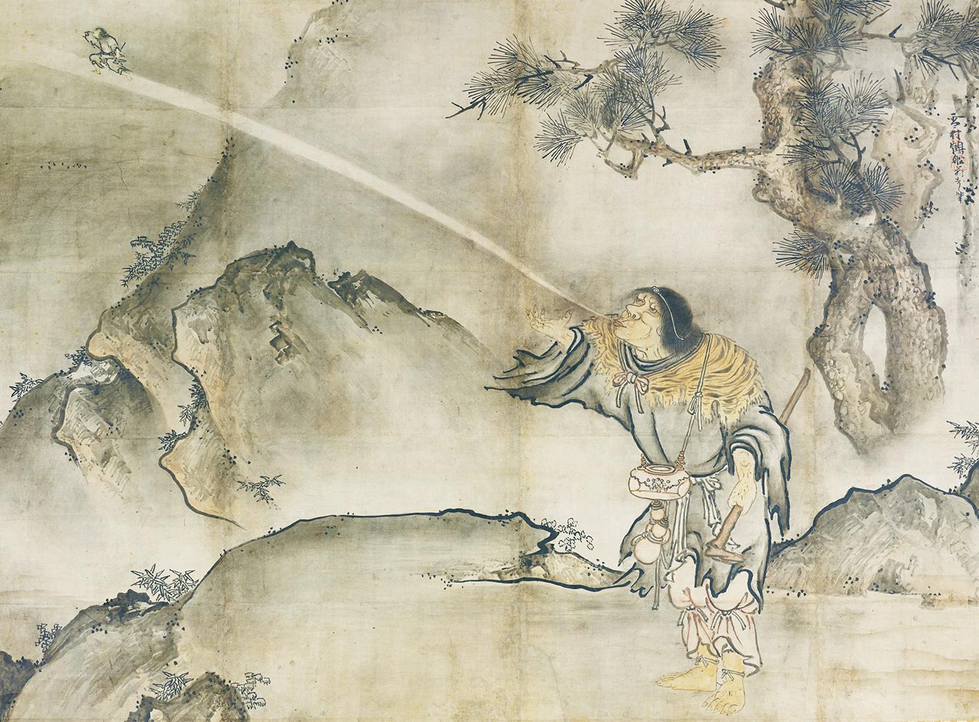 雪村筆 《蝦蟇鉄拐図》(右) 2幅 各151.5×205.9cm 東京国立博物館蔵Image:TNM   Image Archives 【展示期間:3月28日~4月23日】