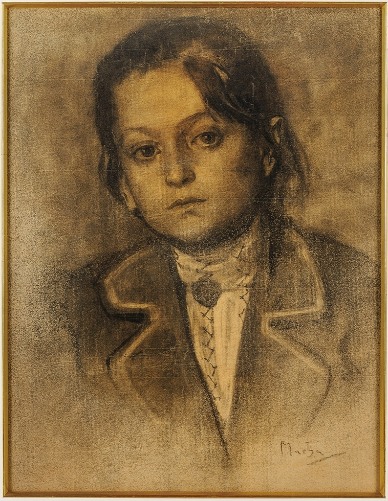 素描《農民風のブラウスを着た少女》1878年 木炭