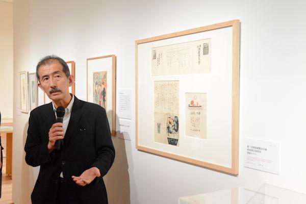 港屋絵草紙店と夢二の関係について解説する東京ステーションギャラリーの冨田章館長