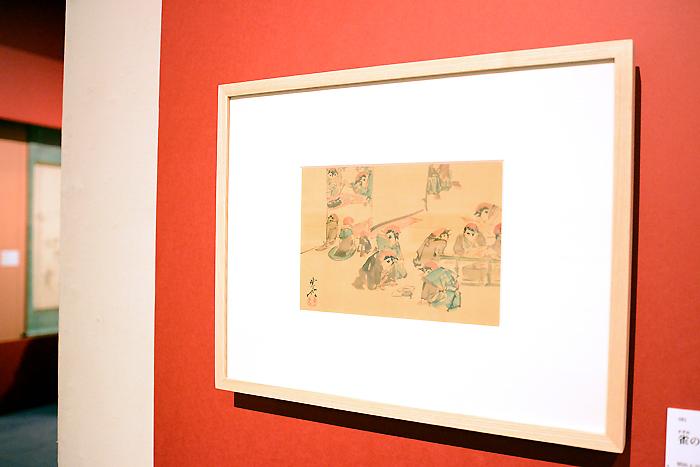河鍋暁斎《雀の書画会》明治4-22(1871-89)年 絹本着彩 イスラエル・ゴールドマン コレクション Israel Goldman Collection,Lodon