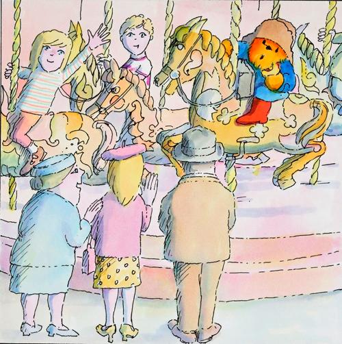 デイビッド・マッキー画 絵本『パディントンとゆうえんち』の原画、1980 年代  Illustrated by David Mckee (C) David Mckee/HarperCollins 2018
