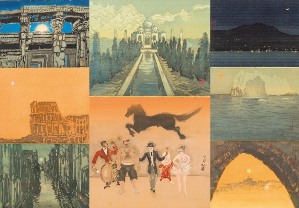 《印度 ダジ・マハールの満月》ほか、世界の月景色シリーズ 1923~24年頃 個人蔵