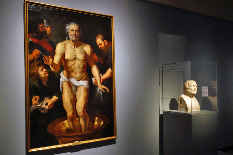 左よりペーテル・パウル・ルーベンス《セネカの死》、マドリード、プラド美術館/《偽セネカ像のヘルメ柱》ローマ、カピトリーノ美術館