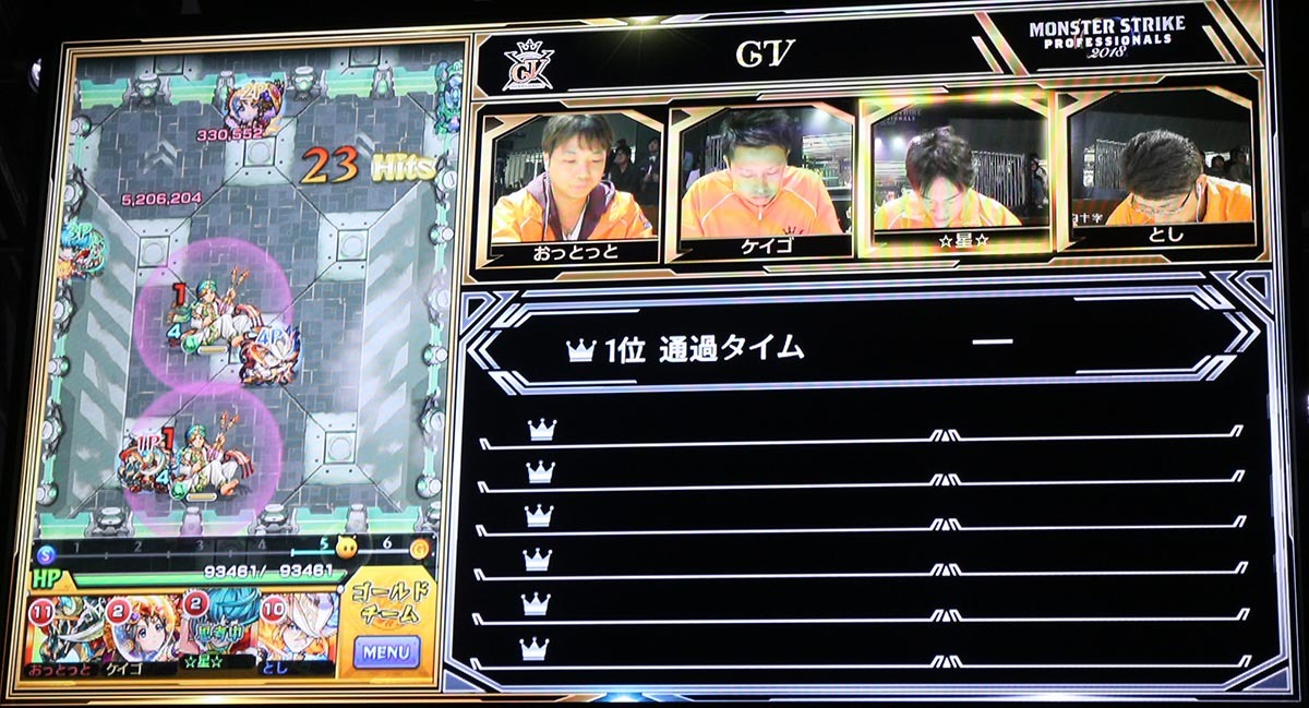 モニタにはゲーム画面とメンバーの表情が写し出される