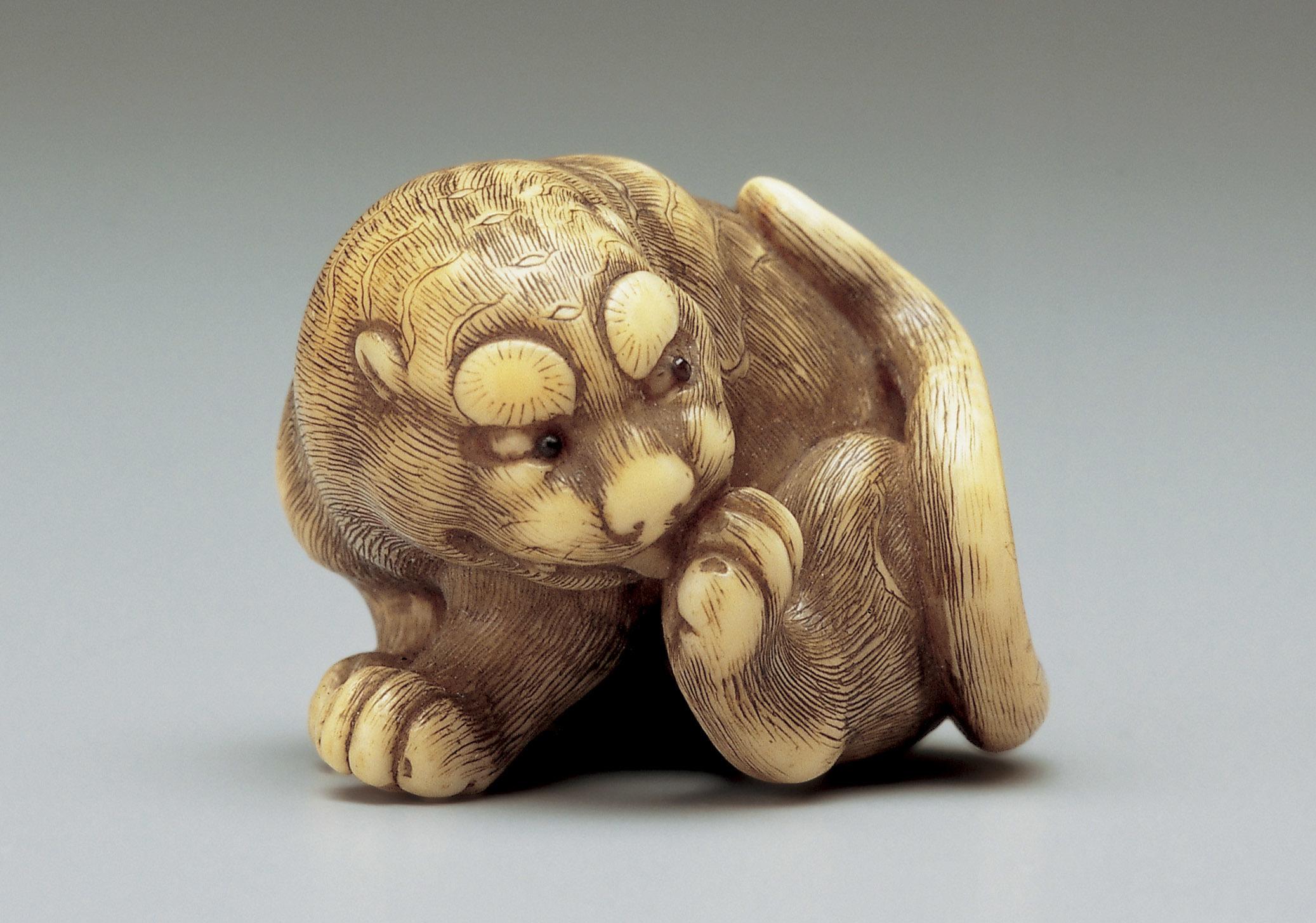 (岡隹《虎》18世紀、 象牙、 2.9cm)