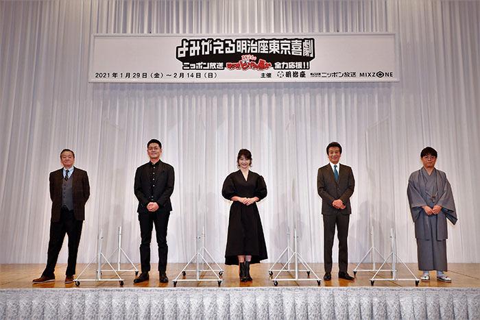 (左から)高田文夫、宅間孝行、田中美佐子、前川清、立川志らく