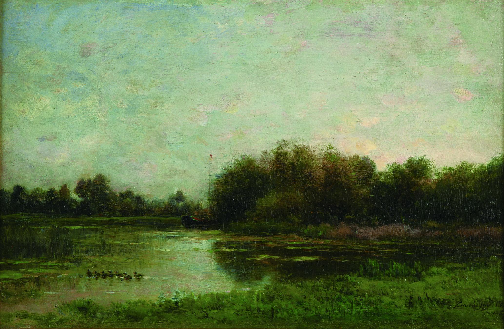 シャルル=フランソワ・ドービニー 《オワーズ河畔》 1860年 油彩/板 21.3×33㎝ ランス美術館 (C)Christian Devleeschauwer
