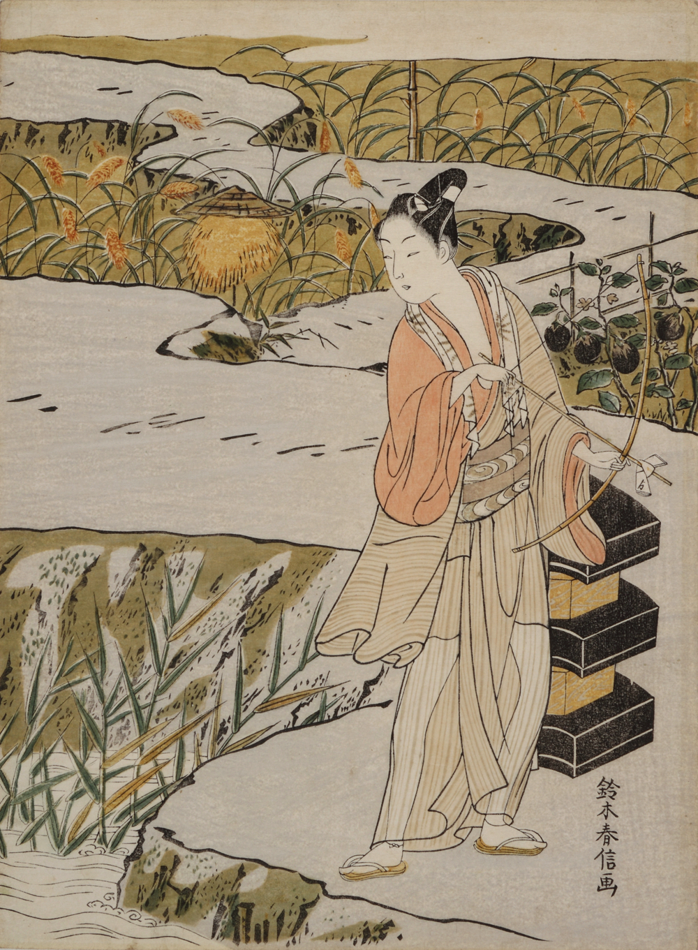 見立那須与一 屋島の合戦 鈴木春信 一枚 江戸時代 明和3~4年(1766~67)頃 個人蔵
