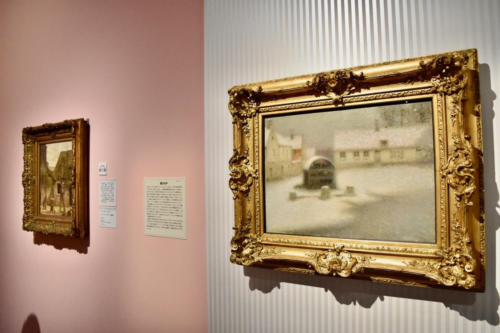 右:アンリ・ル・シダネル 《雪》 1901年 油彩、カンヴァス (C)CSG CIC Glasgow Museums Collection
