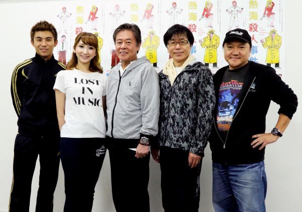 (左から)中尾明慶、愛原実花、風間杜夫、平田満、いのうえひでのり