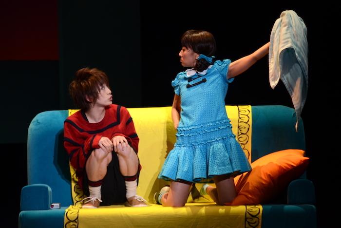 ライナス役の古田一紀(左)とルーシー役の高垣彩陽