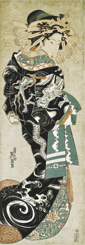渓斎英泉《雲龍打掛の花魁》1820~1830年代 錦絵  千葉市美術館蔵 東京展後期展示、他の会期では個人蔵作品を展示